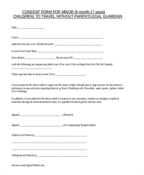 free child travel consent form template 5 sle child travel consent forms pdf sle templates