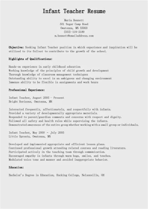 Nanny Resume For Infants by Letter Recommendation Resume