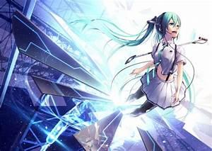 Vocaloid, Hatsune, Miku, Long, Hair, Twintails, Skirt, Thigh