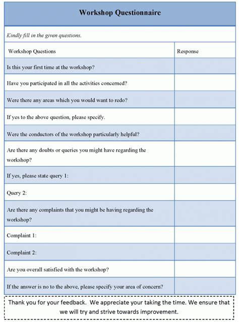 Questionnaire Template Workshop Questionnaire Template Sle Templates