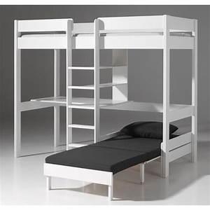 Lit Mezzanine Enfant : lit mezzanine avec fauteuil pino blanc ~ Teatrodelosmanantiales.com Idées de Décoration