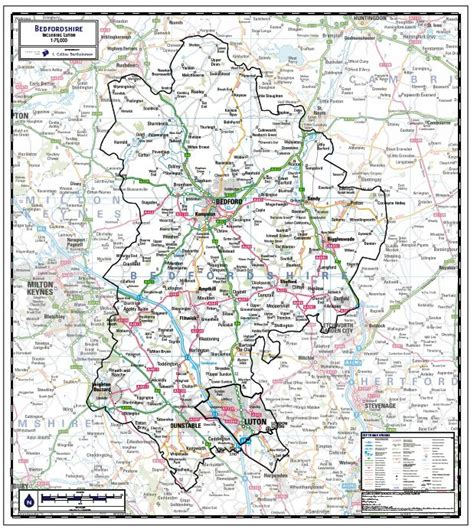 Bedfordshire County Map - Paper, Laminated or Mounted on ...