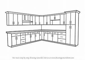 Learn How To Draw Kitchen Cabinets  Furniture  Step By