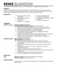 Biomedical Technician Resume Format by Biomedical Technician Resume Sle Gallery Creawizard