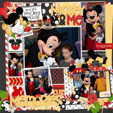 """Maybe you would like to learn more about one of these? Using """"Just Mickey"""" by Kellybell Designs - kit, word art, page starter, tags and flairs, pockets ..."""