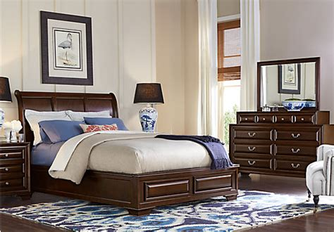 mill valley ii cherry  pc queen sleigh bedroom traditional