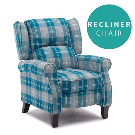Recliner Armchair Fabric by Eaton Wing Back Fireside Check Fabric Recliner Armchair