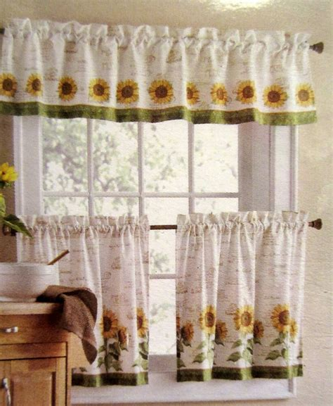 Kitchen Curtains Valances by Sunflowers 3 24l Tiers Valance Set Kitchen Curtains
