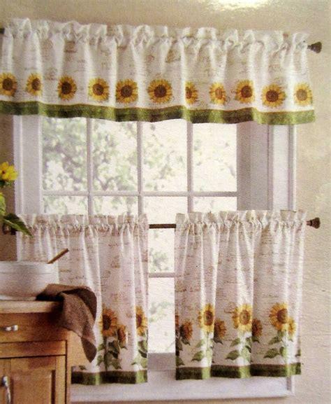 sunflowers  piece  tiers valance set kitchen curtains