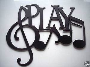 Play word with notes metal wall art music by sayitallonthewall