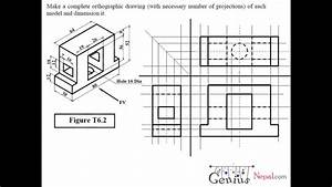 Engineering Drawing Tutorials  Orthographic Drawing 2 With Front View  U0026 Side View   T 6 2