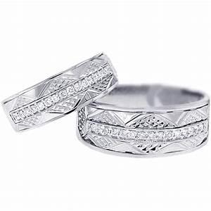 Diamond Wedding Bands Set For Him Her 18K White Gold 033 Ct