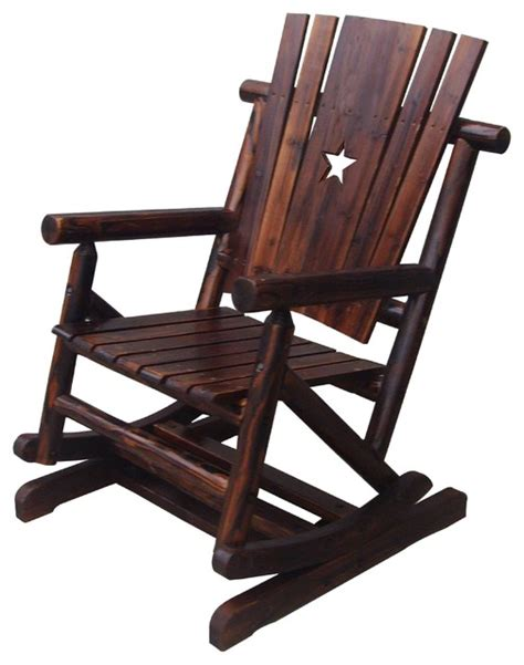 char log pendulum cut out single rocking chair