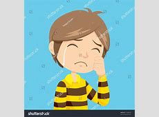 Lonely Sad Little Boy Crying Stripped Stock Illustration