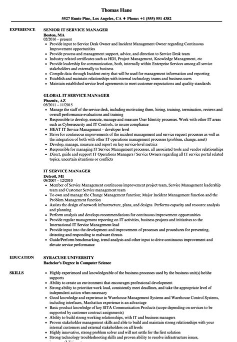 It Manager Resume Exles by It Service Manager Resume Sles Velvet