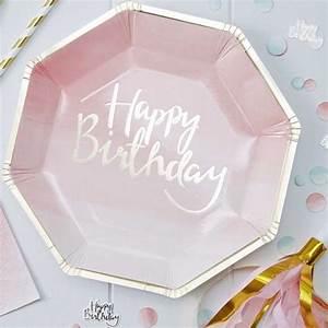 Pappteller 30 Geburtstag : pappteller happy birthday pink ombre 30 geburtstag pinterest geburtstag party und ~ Markanthonyermac.com Haus und Dekorationen