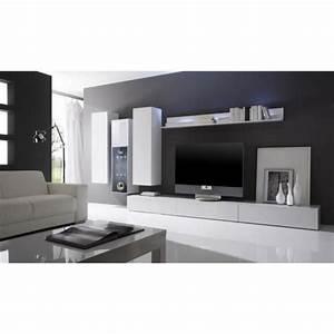 Meuble Salon Moderne : ensemble salon moderne laqu blanc gladys composition n ~ Premium-room.com Idées de Décoration