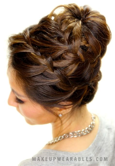 cute braided bun hair tutorial updo hairstyles for short
