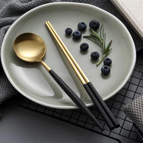 korean gold plated chopstick  spoon fork