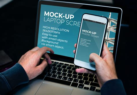All of these mockup resources are for free download on pngtree. Laptop And Mobile Screen MockUp - PSD Template by ...