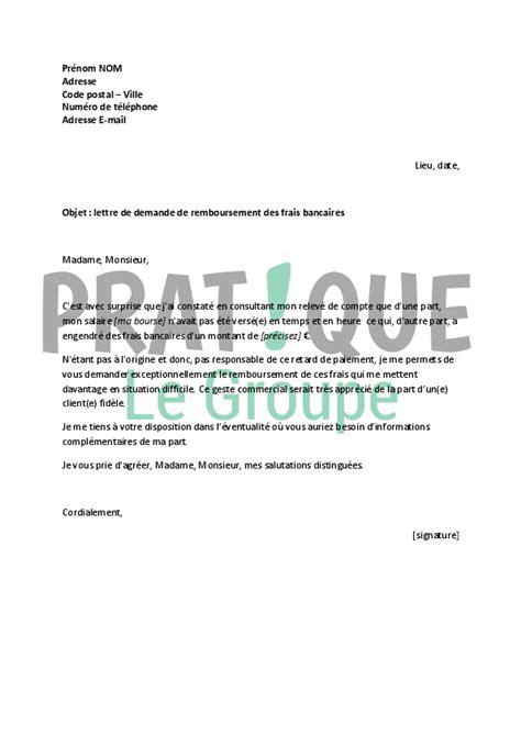 offre d emploi cuisine lettre à la banque demande de remboursement de frais