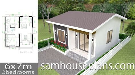 House Plans 6x7m with 2 bedrooms Full Plans c1 Small