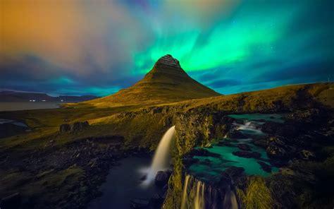 iceland aurorae mountain landscape waterfall rock
