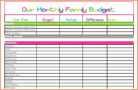 budget spreadsheet excel