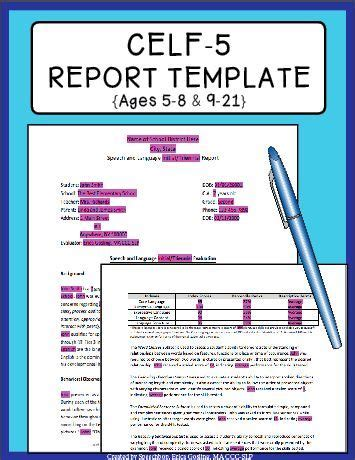 celf  report template     speech therapy