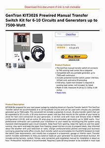 Gentran Kit3026 Prewired Manual Transfer Switch Kit For 6