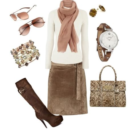 Brown suede skirt outfit | My Dream Closet | Pinterest
