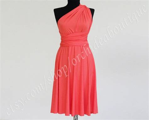 Coral Convertible Infinity Wrap Chameleon Knee Length