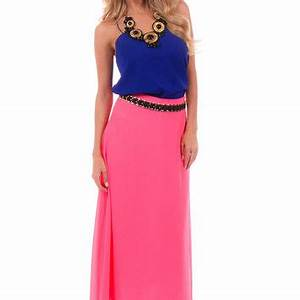 Neon Pink Flowy Maxi Skirt from Lime Lush Boutique