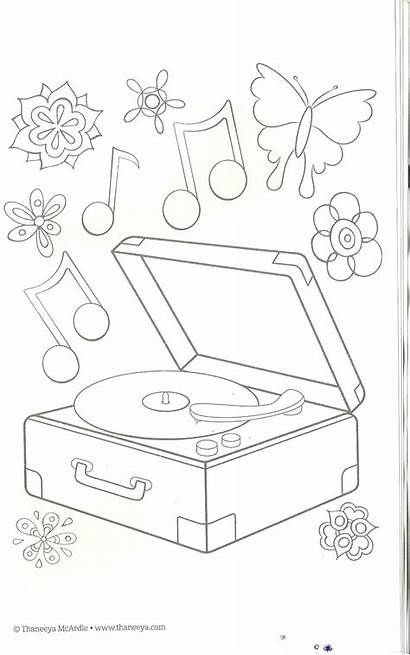 Coloring Pages Record Player Christmas Stamps Musical