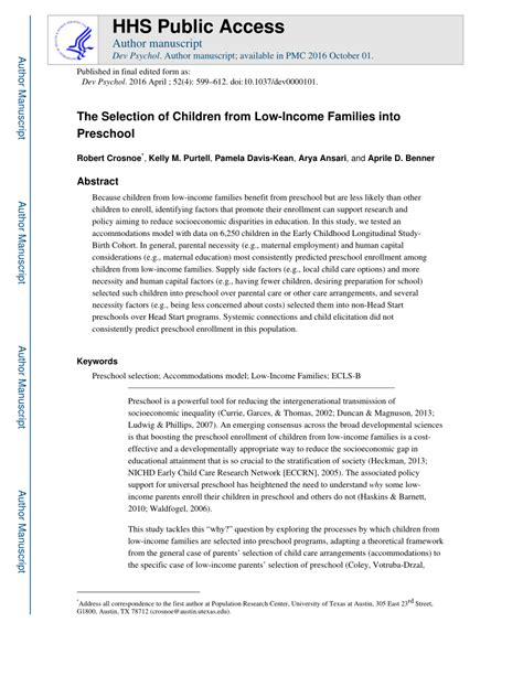 pdf the selection of children from low income families 103   largepreview