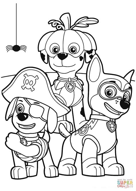 paw patrol halloween party coloring page  printable coloring pages
