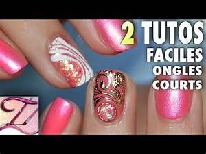 Ongle En Gel Court : 2 tutos nail art facile ongles courts en gel pour pose salon rapide youtube ~ Melissatoandfro.com Idées de Décoration