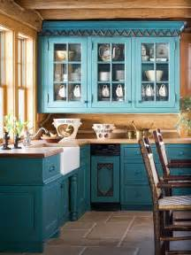 Teal Green Kitchen Cabinets by Teal Cabinets Rustic Look Kitchen Home