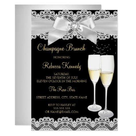 Elegant Black White Lace Champagne Brunch Invite   Zazzle ...