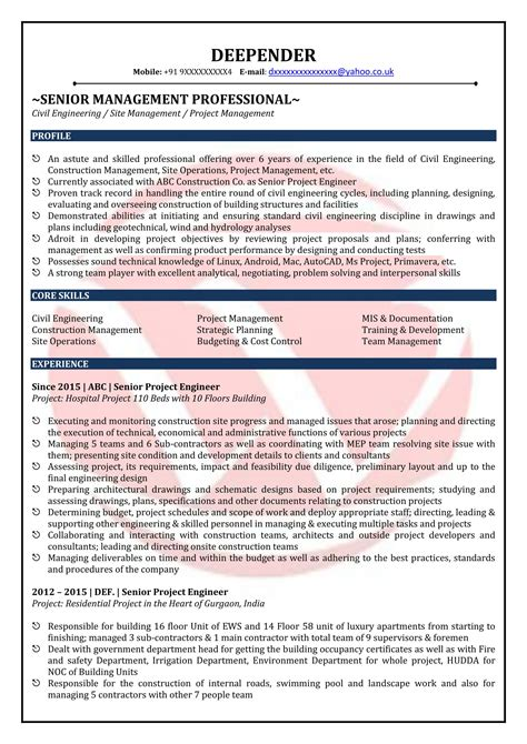 civil engineer sle resumes resume format templates