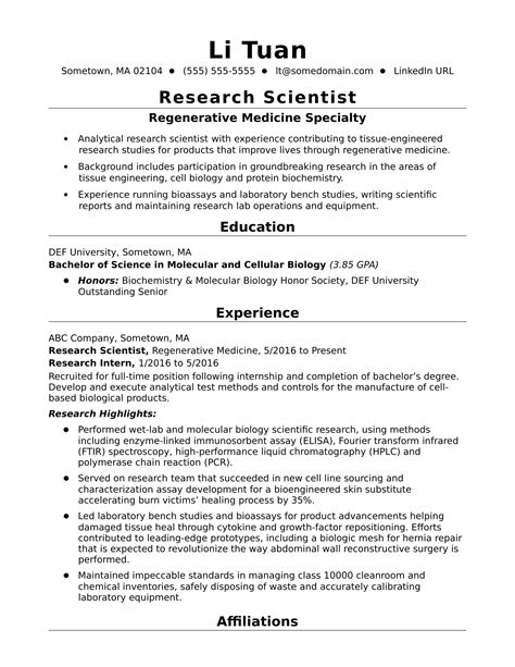 entry level research scientist resume sle