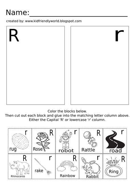 a kid friendly world letter r cut paste free pre k