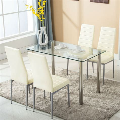 piece dining table set  chairs glass metal kitchen