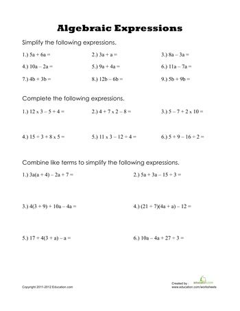 algebraic expressions learn  algebra worksheets