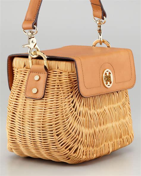 rattan bag lyst burch lacquered rattan basket bag in brown