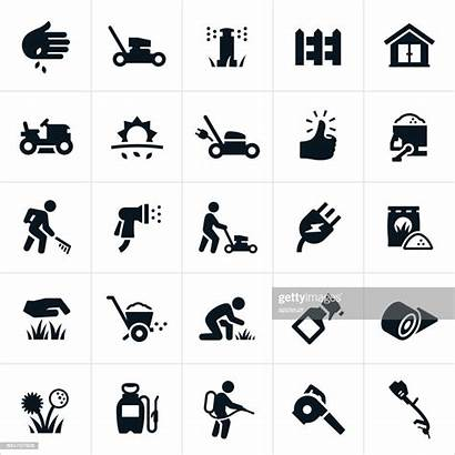 Lawn Care Clip Vector Icons Mower Mowing