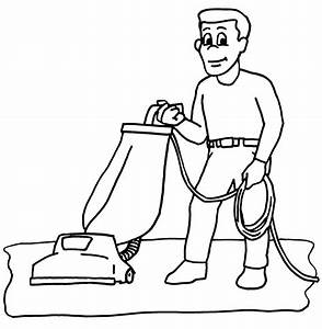 Clip Art: Vacuum Cleaner (coloring page) | abcteach