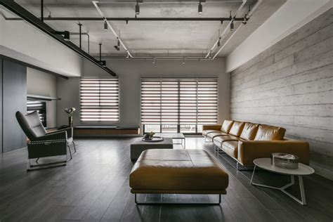 modern concrete interiors a palette of wood metal and concrete for this apartment interior in taiwan contemporist