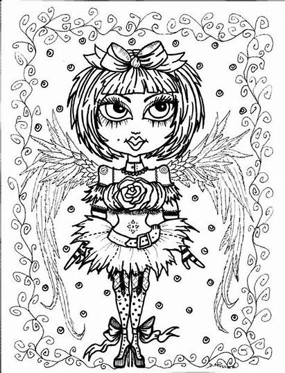 Gothic Coloring Pages Angels Angel Instant Goth
