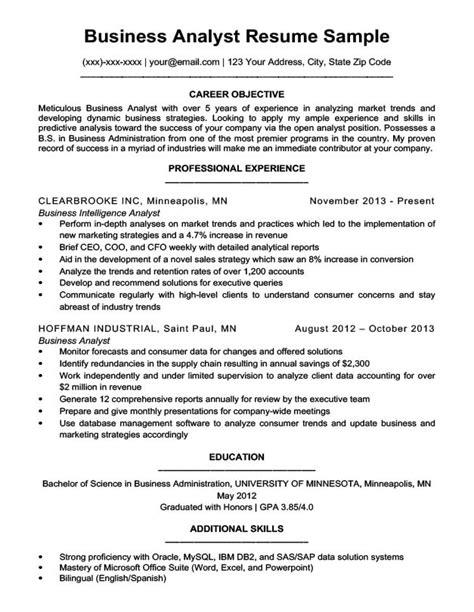Business Analyst Resume business analyst resume sle writing tips resume
